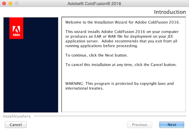 ColdFusion 2016 installation screen 1