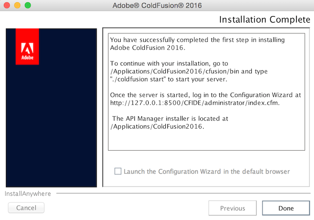ColdFusion 2016 Installation Complete screen