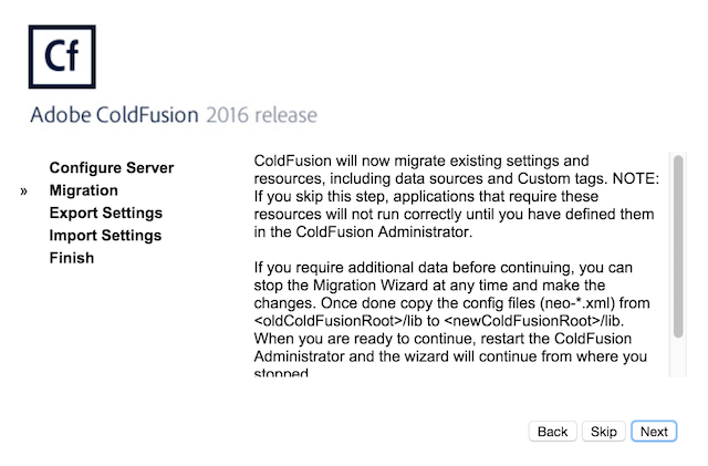 ColdFusion 2016 Migration Wizard