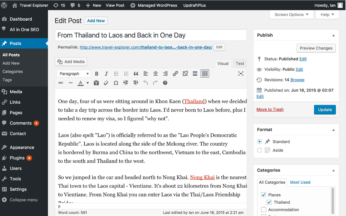 Screenshot of editing content in WordPress