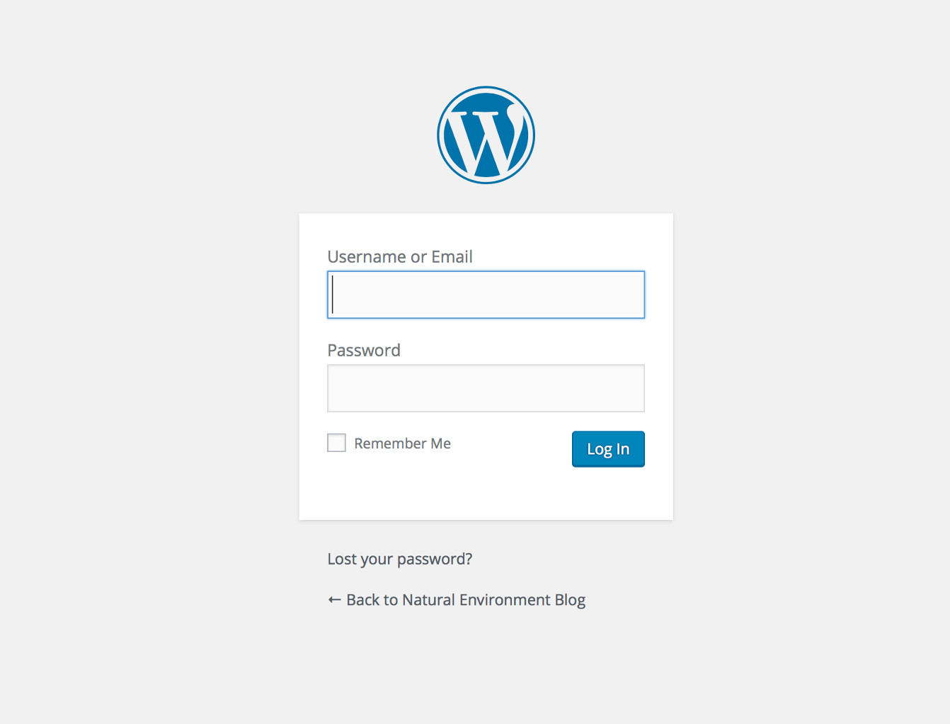 Screenshot of the WordPress login screen