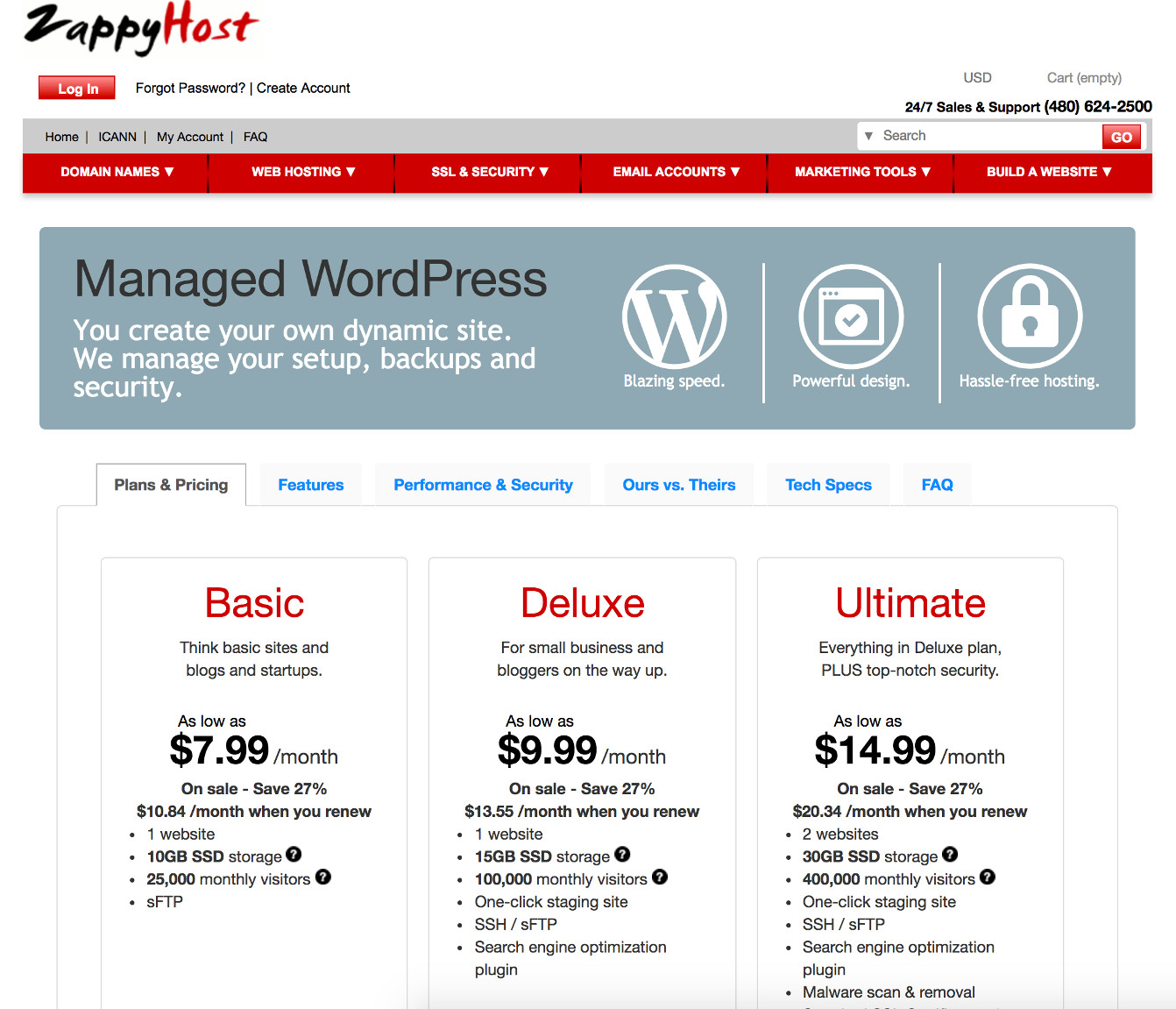 Screenshot of the ZappyHost WordPress hosting page