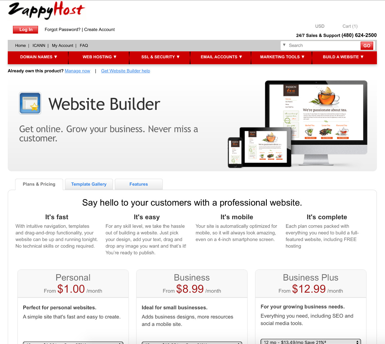 Screenshot of the ZappyHost Website Builder page