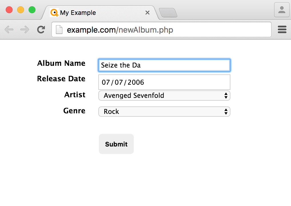 Screenshot of an example HTML form.