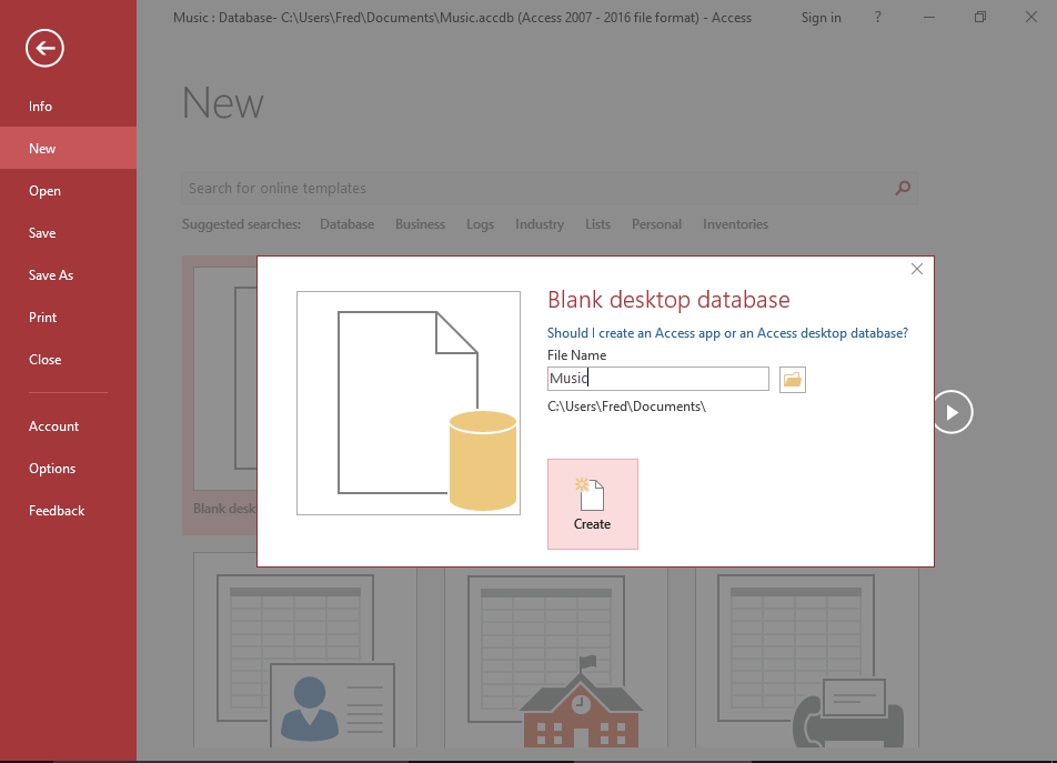 Screenshot of creating a database in Microsoft Access.