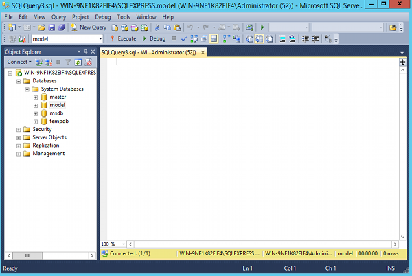 Screenshot of SQL Server Management Studio.