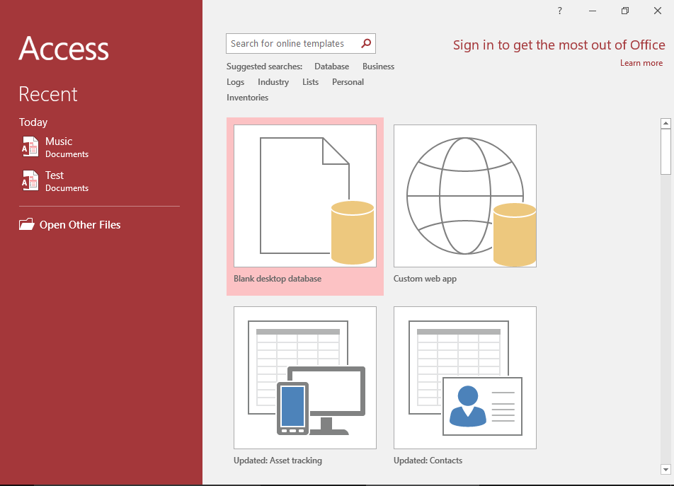 Screenshot of the Microsoft Access 2016 Welcome Screen