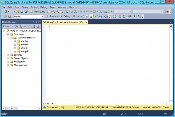 Screenshot of SQL Server