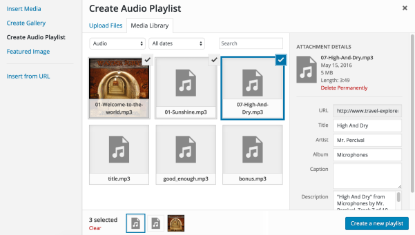 Screenshot of creating a new music playlist.
