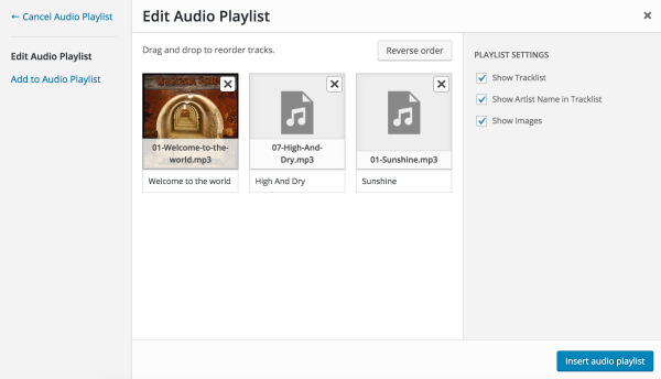 Screenshot of the Edit Audio Playlist screen.