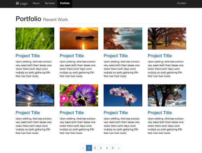 Business website templates 4 column portfolio template screenshot accmission Gallery