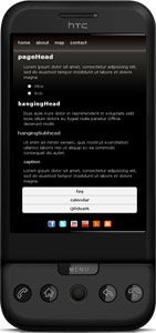 Screenshot of mobile web template, Noir