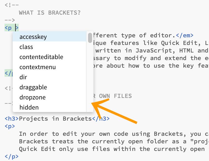 Screenshot of Brackets Code Assist