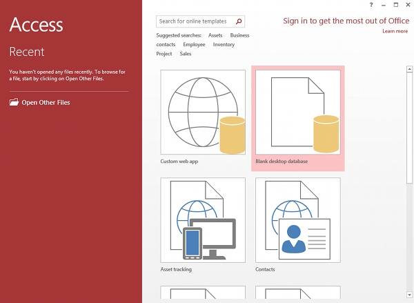 Screenshot of creating a database from the Microsoft Access welcome screen