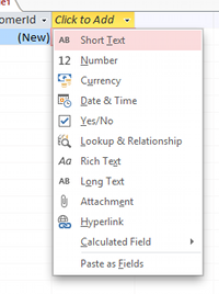 Screenshot of the list of data types
