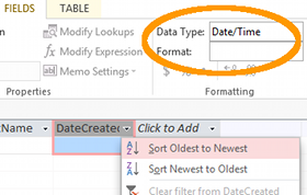 Screenshot of the data types dropdown on the Ribbon toolbar