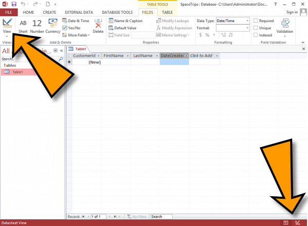 How to create a table in design view in access 2013 for Table design view access