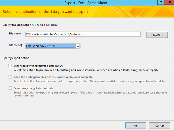 Export Access 2013 Database To Excel