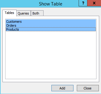 MS Access 2013: Creating a query - step 2