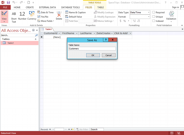 Design view in microsoft access 2013 for Table design ms access