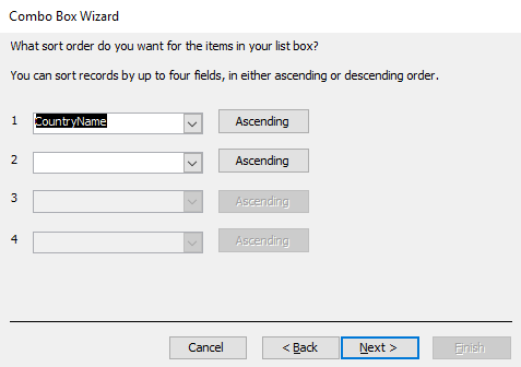 Screenshot of the Combo Box Wizard