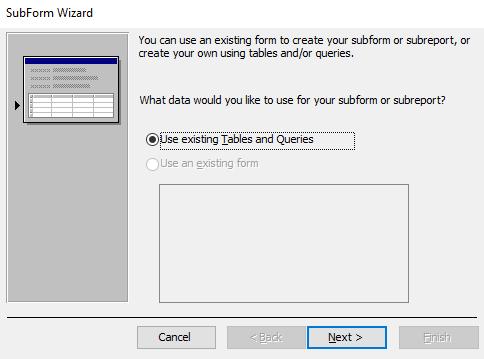 Screenshot of the SubForm Wizard