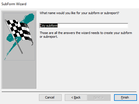 Screenshot of the SubForm Wizard
