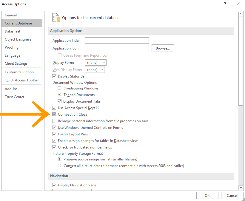 Screenshot of the Access Options dialog
