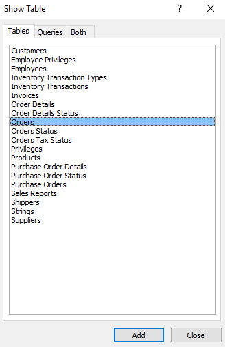 Screenshot of selecting the tables.