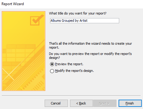 Screenshot of the Report Wizard
