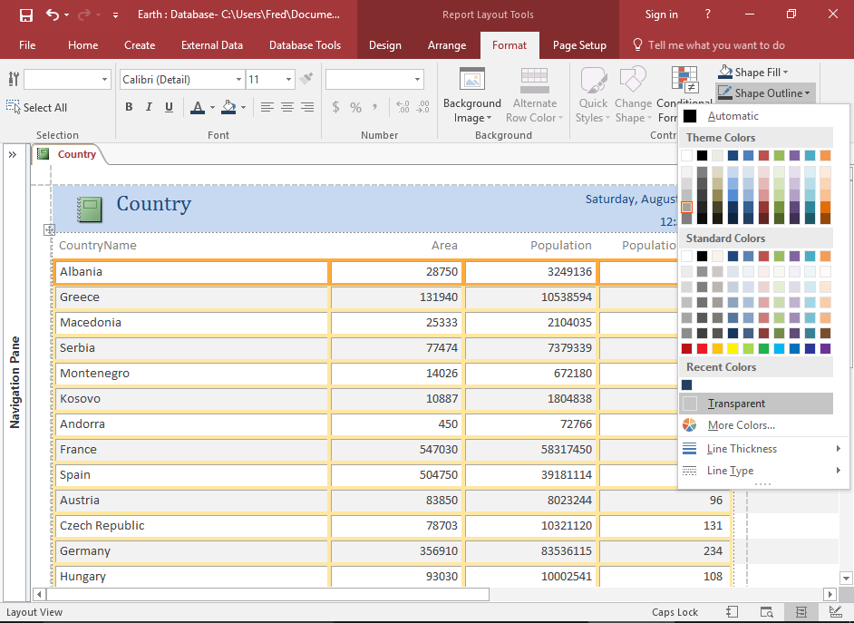 Screenshot of the report with multiple labels highlighted and the contextual menu displaying