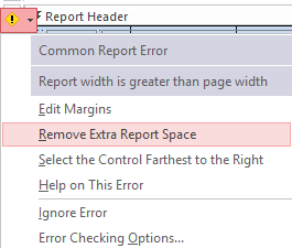 Screenshot of the drop-down list of possible fixes to the error