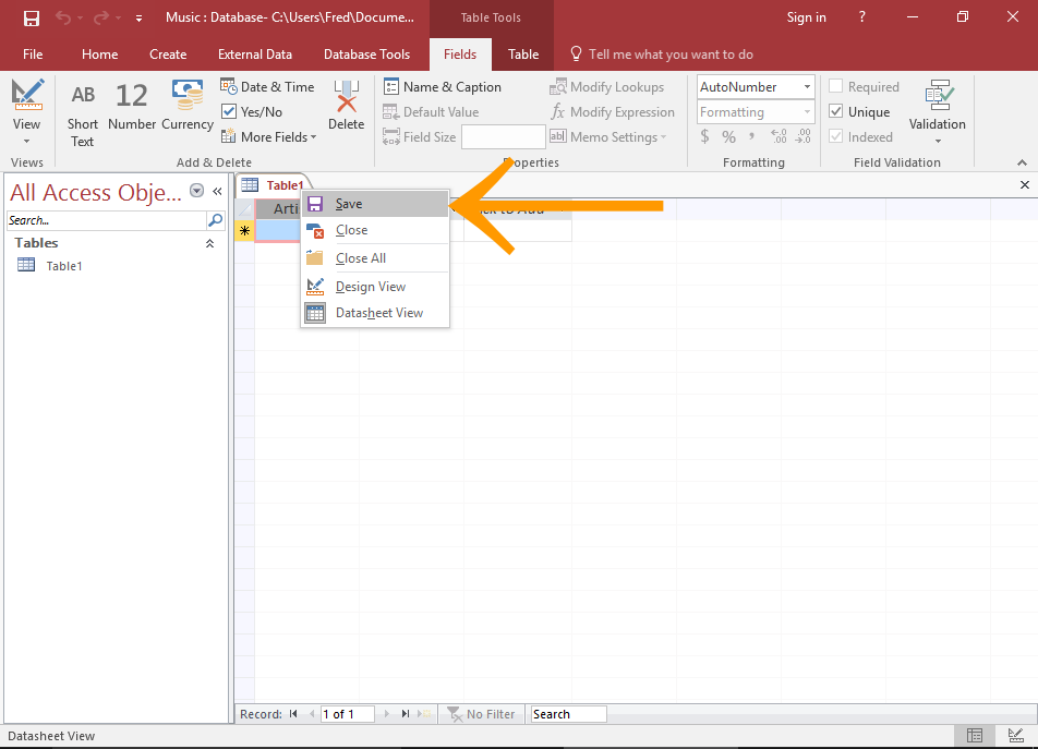 How to Create a Table in Datasheet View in Access 2016