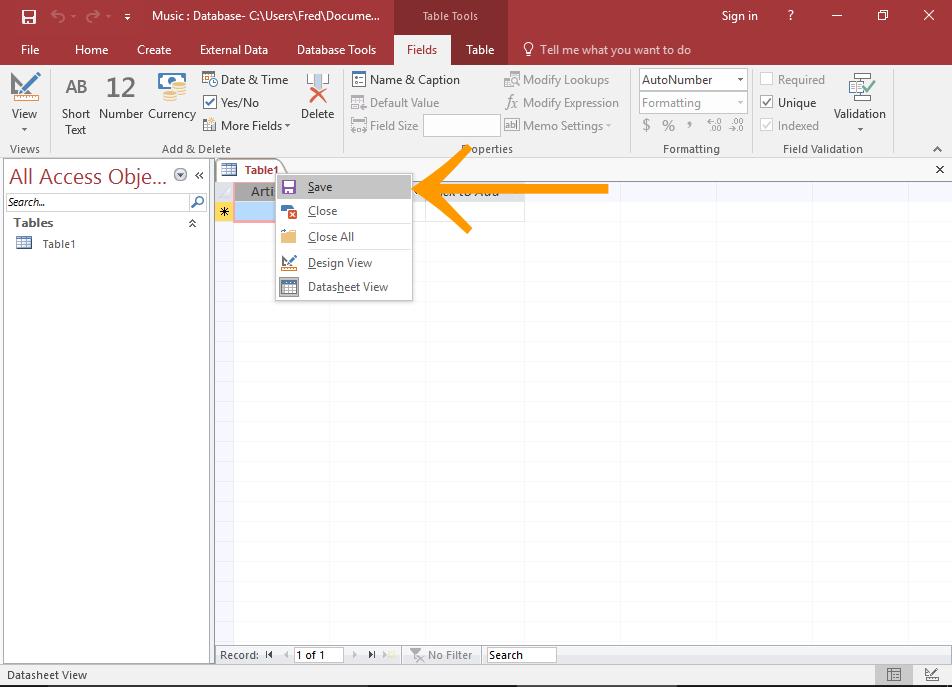 Screenshot of saving a table in Microsoft Access