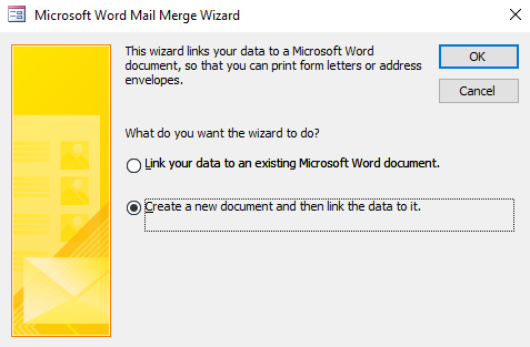 Screenshot of the Microsoft Word Mail Merge Wizard