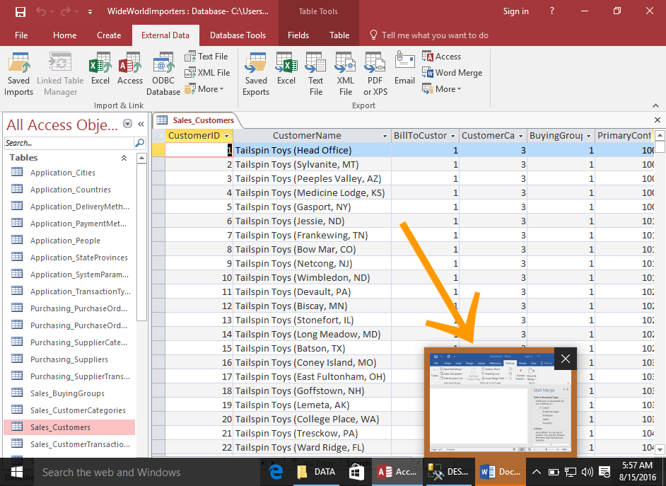 Screenshot of Microsoft Word popping up from the Taskbar