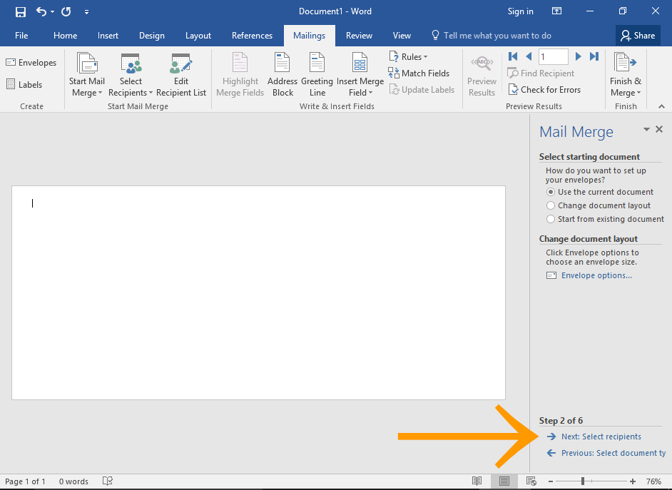 Screenshot of Microsoft Word Mail Merge Wizard