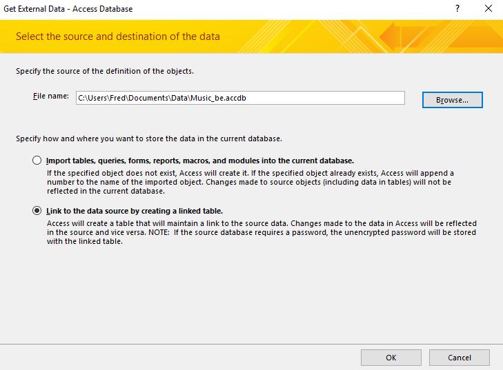 Screenshot of the Get External Data wizard
