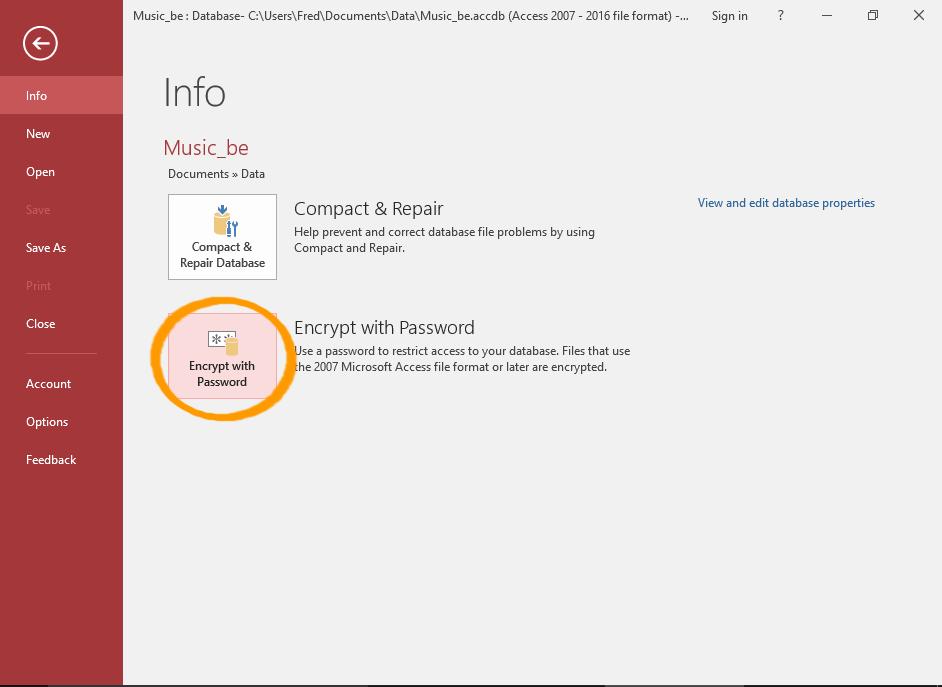 Screenshot of the Info menu