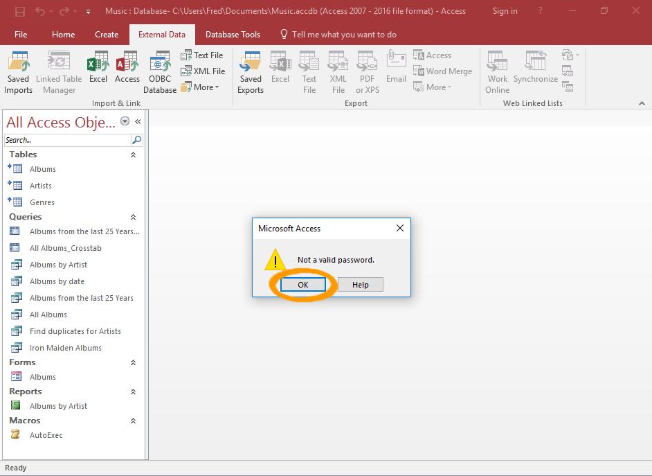 Screenshot of the Not valid password message