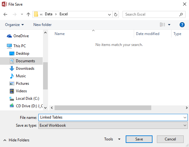 Screenshot of saving the file