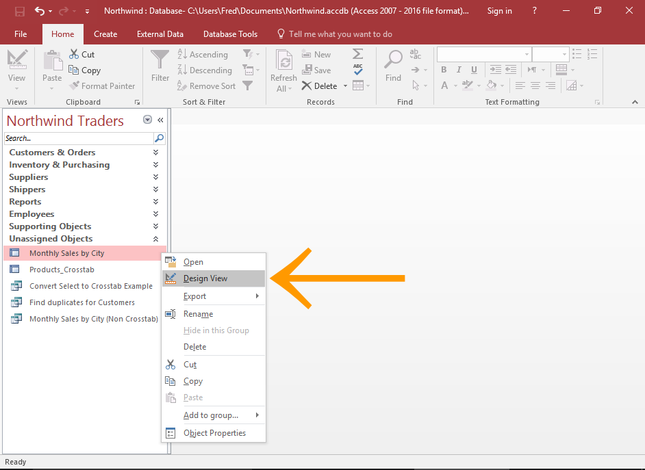 Screenshot of the Query Design button highlighted.