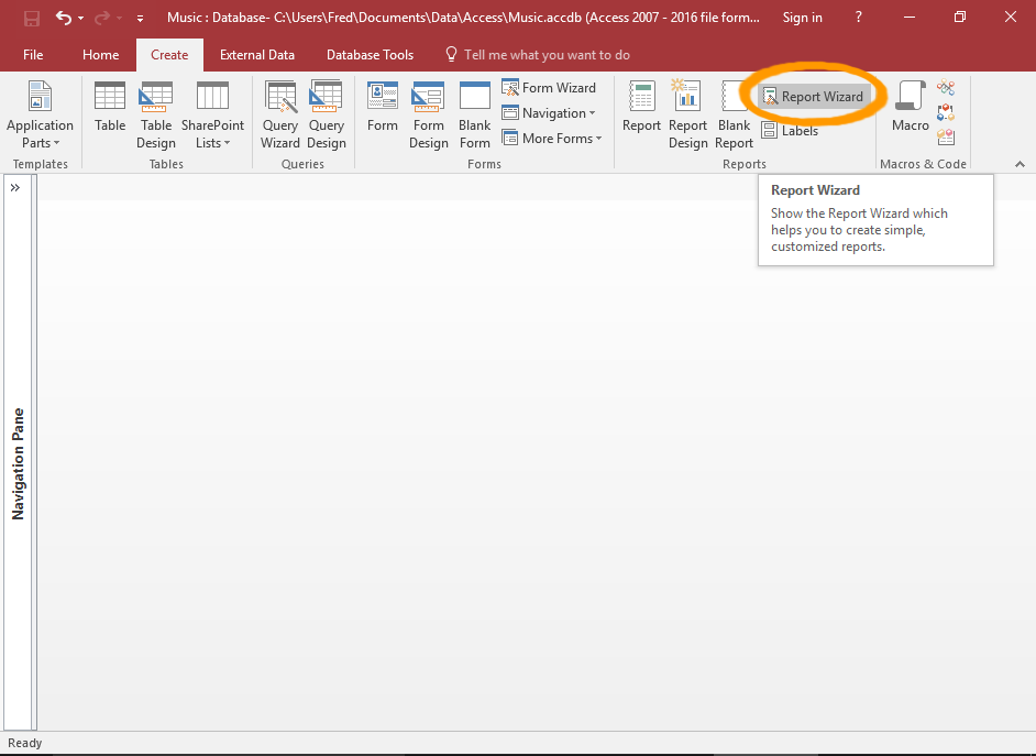 Screenshot of Access with the Report Wizard button highlighted