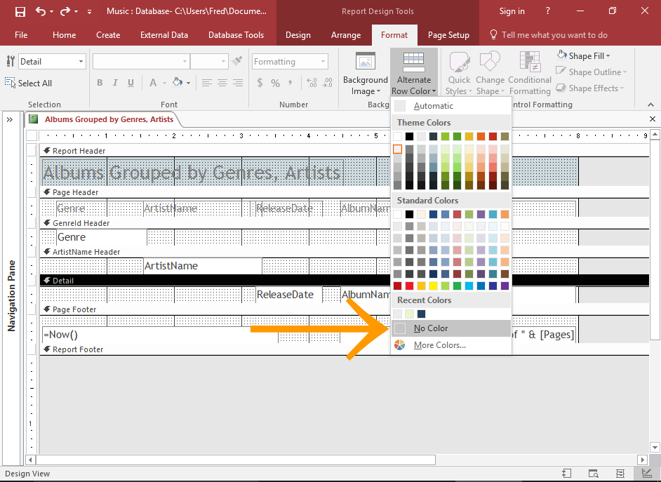 Screenshot of removing the alternating colors
