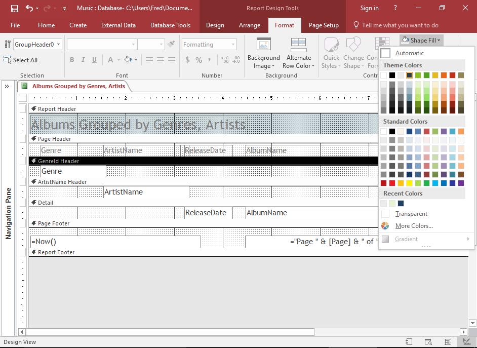 Screenshot of formatting the header