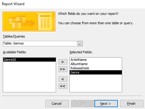 Screenshot of selecting the fields on the Report Wizard