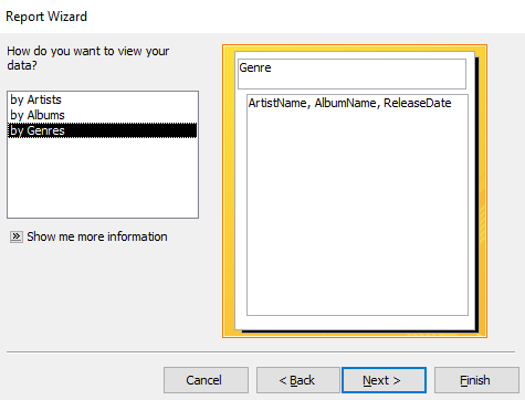 Screenshot of choosing a field to group on
