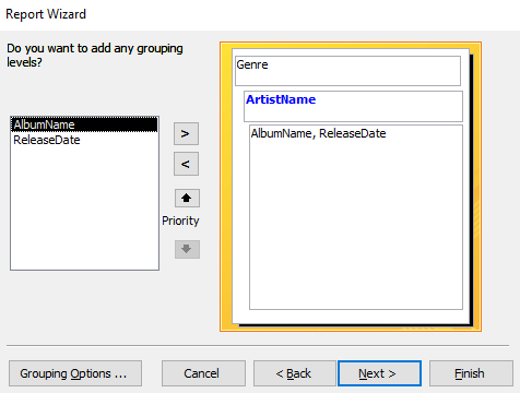 Screenshot of selecting the extra field