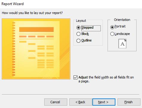 Screenshot of choosing a layout