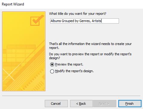 Screenshot of naming the report